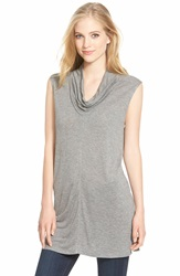Halogen Sleeveless Drape Neck Tunic Regular And Petite Dark Heather Grey