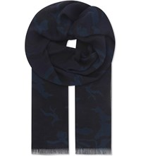 Sandro Camo Modal And Cashmere Blend Scarf Navy Blue