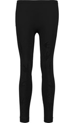 Mcq By Alexander Mcqueen Pointelle Paneled Stretch Jersey Leggings Black