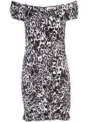 Milly Ruched Leopard Print Dress White