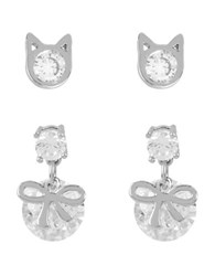 Betsey Johnson Cat And Bow Stud Earrings Set Silver