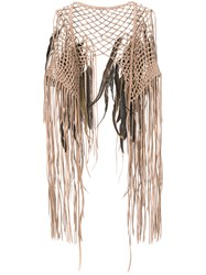 Caravana Coyopa Pluma Vest Calf Leather Rooster Feathers Brown