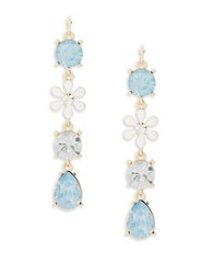 Design Lab Lord And Taylor Crystal Flower Linear Drop Earrings Blue
