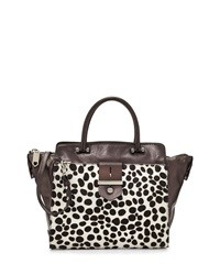 Milly Dalmatian Leather Tote Bag Black White