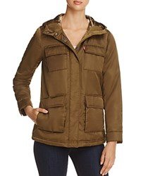 Levi's Faux Fur Lined Four Pocket Puffer Coat Army Green