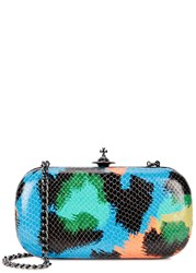 Vivienne Westwood Barbican Snake Effect Leather Box Clutch Multicoloured