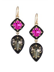 Alexis Bittar Crystal Pyrite Doublet And Ruby Corundum Drop Earrings Gold