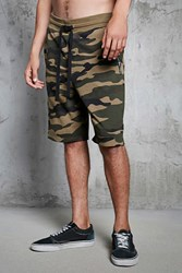 Forever 21 Camo Print French Terry Shorts Olive Green