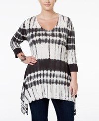 Belldini Plus Size Rhinestone Tie Dyed Top Charcoal