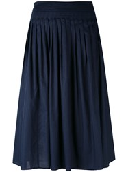Vince Gathered A Line Skirt Women Cotton Xs Blue