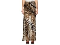 Saint Laurent Women's Leopard Print Silk Maxi Skirt Tan