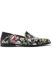 Alexander Mcqueen Floral Print Leather Loafers Black