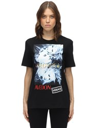 Versace Printed And Embroidered Cotton T Shirt Black