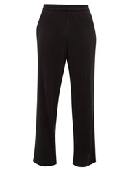 Our Legacy Reduced Straight Leg Ribbed Cotton Blend Trousers Black