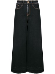 Don't Cry Cropped Wide Leg Jeans Blue