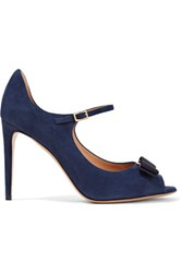 Salvatore Ferragamo Embellished Suede Pumps Storm Blue