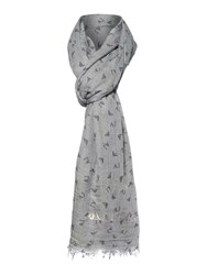Armani Jeans All Over Logo Flocked Scarf Grey