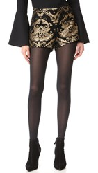Alice Olivia Marissa Shorts Black Gold