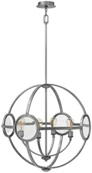 Hinkley Fulham Chandeliers 3924Pl Polished Antique Nickel White