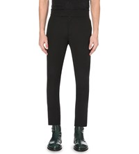 Ann Demeulemeester Regular Fit Cropped Cotton Blend Trousers Black