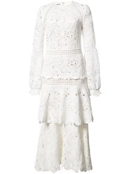 Oscar De La Renta Lace Layered Dress White