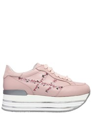 Hogan 70Mm Maxi 222 Embroidery Leather Sneaker Pink