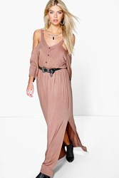 Boohoo Button Front Cold Shoulder Maxi Dress Sand