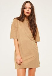 Missguided Petite Exclusive Brown Faux Suede T Shirt Dress