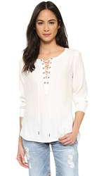 David Lerner Lace Up Silk Blouse Soft White