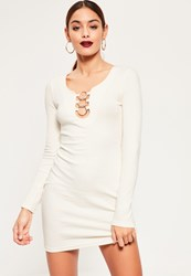 Missguided White Circle Detail Bodycon Dress