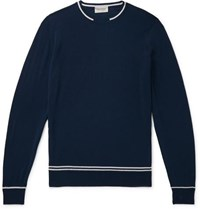 John Smedley Slim Fit Contrast Tipped Merino Wool Sweater Navy