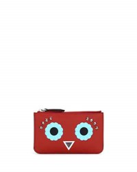 Fendi Faces Leather Key Pouch Red Multi