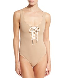 Marysia Palm Springs Scalloped Lace Up Maillot Beige