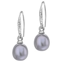 Dower And Hall Sterling Silver Oval Freshwater Pearl Drop Earrings Dove Grey