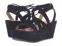 Trask Patrice Black Kid Suede Women's Wedge Shoes