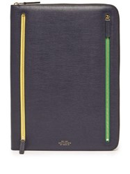 Smythson Grained Leather Document Pouch Navy