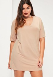 Missguided Plus Size Nude Choker Neck T Shirt Dress
