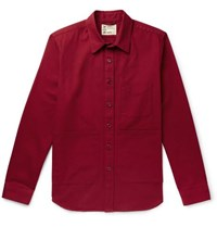Aspesi Garment Dyed Cotton Twill Overshirt Red