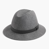 J.Crew Pre Order Classic Felt Hat With Leather Band Hthr Graphite