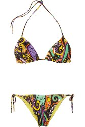 Etro Printed Triangle Bikini Black