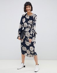 Selected Fritzi Floral Print Wrap Midi Dress Navy