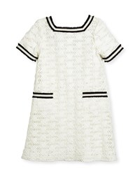 Zoe Short Sleeve Lattice Shift Dress White