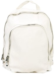 Guidi Double Zip Backpack White
