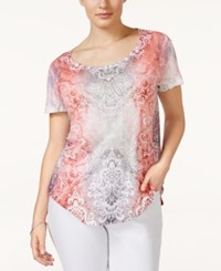Styleandco. Style And Co. Plus Size Short Sleeve Printed T Shirt Only At Macy's Windy Surprise