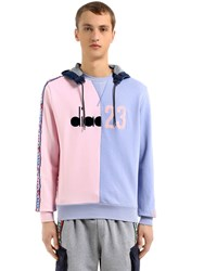 Diadora Lc23 Color Block Twill Sweatshirt Pink Blue