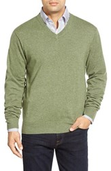 Men's Peter Millar High Twist Cashmere V Neck Sweater Fir