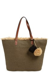 Caslon Frayed Woven Straw Tote Black