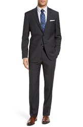 Hart Schaffner Marx Men's Big And Tall Classic Fit Check Wool Suit Dark Grey