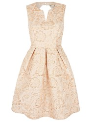 Yumi Gold Flower Print Party Dress Bronze