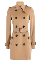 Burberry London Kensington Wool Trench Coat With Cashmere Camel